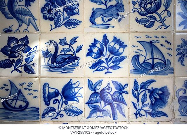Traditional portuguese tiles,Blue azulejos on the building's exterior in Lisbon, Portugal