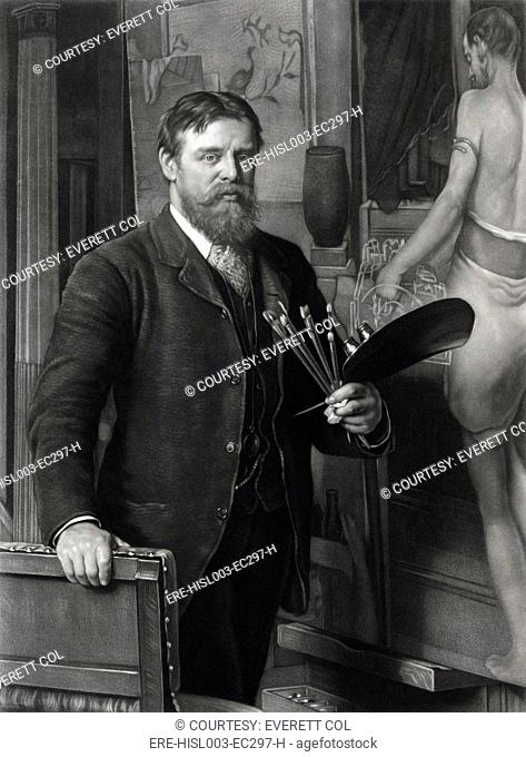 Sir Lawrence Alma-Tadema 1836-1912, in his studio. He painted realistic scenes of ancient history, with exceptional detail and dramatic narrative