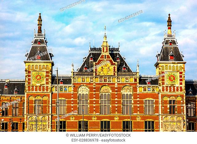 Royal Palace Town Hall Amsterdam Holland Netherlands. Opened up as a train station in 1889. town hall in 1655. 162,000 go through the train station today