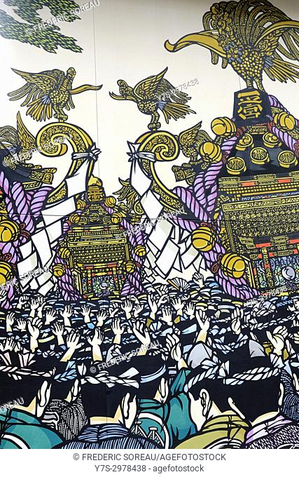 Wall painting, festival scene, Asakusa, Tokyo, Japan, Asia