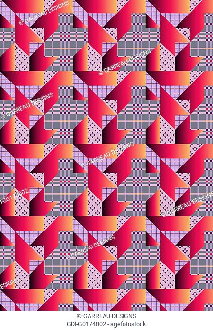 Colorful houndstooth over plaid background