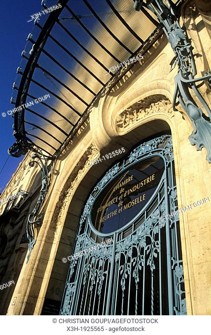 Art Nouveau glass canopy by Louis Majorelle, facade of the Chamber of Commerce, Nancy, Meurthe-et-Moselle department, Lorraine region, France, Europe