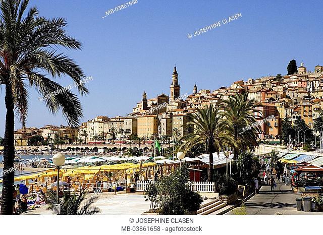 France, Cote d'Azur, Menton, city-opinion, harbor-promenade, restaurants, South-France, Französische Riviera, houses, residences, church, parish-church, harbor