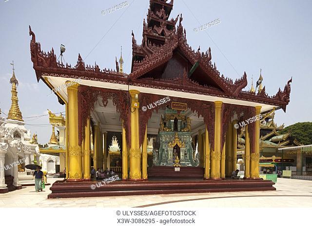 Temple with the Sacred hair relic washing well image of the Buddah, Shwedagon pagoda, Yangon, Myanmar, Asia