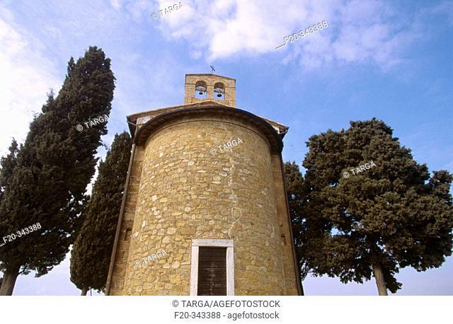 Capella di Vitaleta, chapel near Pienza. Tuscany, Italy