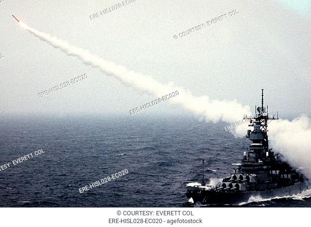 Tomahawk long-range cruise missile launches from the battleship USS MISSOURI during a weapons training exercise. June 1 1988. BSLOC-2011-12-294