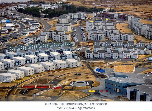 Aerial view of Nordlingaholt, suburb of Reykjavik, Iceland
