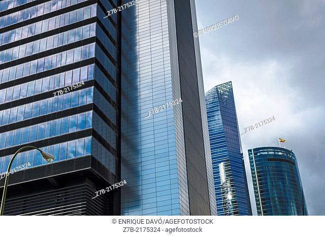 View of a buildings in Castellana street, Madrid city, Spain
