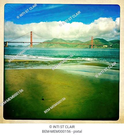Beach and Golden Gate Bridge, San Francisco, California, United States