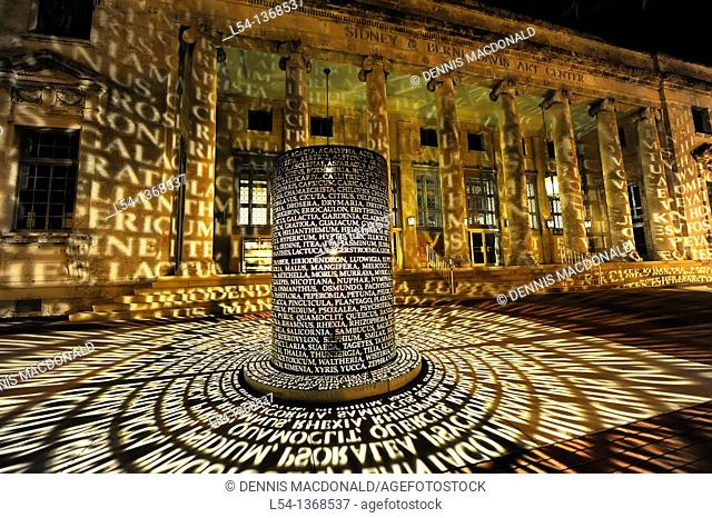 Sidney & Berne Davis Florida Arts Cultural Center Caloosahatchee Manuscripts Light Sculpture in Fort Myers Florida USA