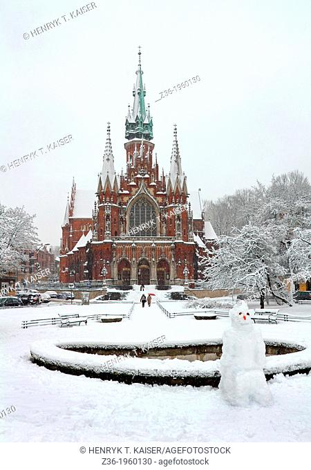 St Joseph's Church at winter time, Krakow, Poland