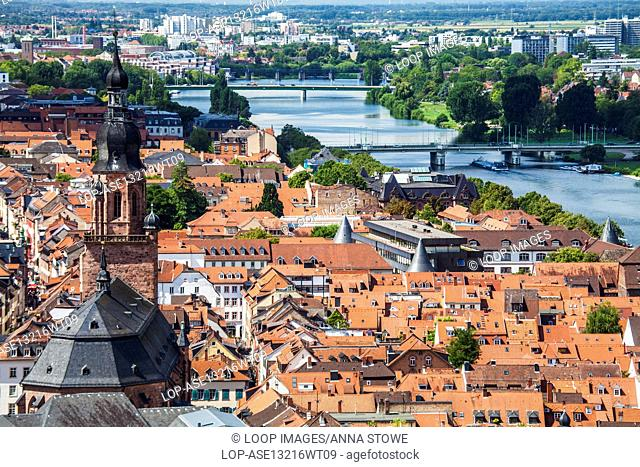 View from the castle over the River Neckar toward the Church of the Holy Spirit and the old town of Heidelberg