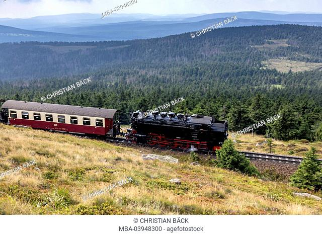 Lump railway with the driving downhill of the Brocken, Schierke, near Wernigerode in the Harz, Saxony-Anhalt, Central Germany, Germany