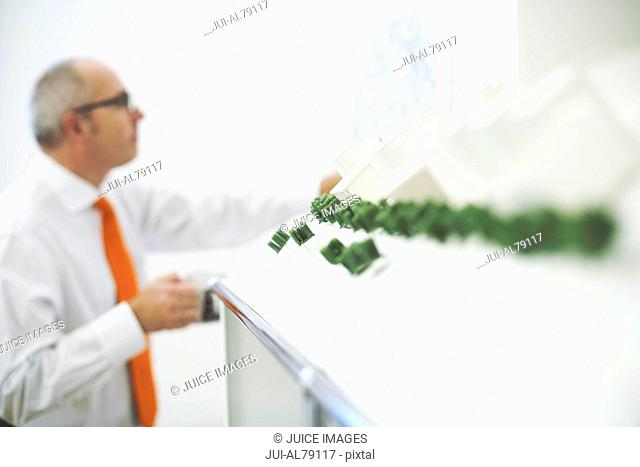 Man looking at map on wall