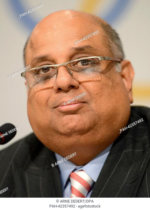 Narayana Ramachandran of India, President of the World Squash Federation (WSF), attends a press conference at the Hilton hotel in Buenos Aires, Argentina