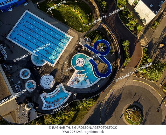Swimming pool in Kopavogur, a suburb of Reykjavik, Iceland. This image is shot using a drone