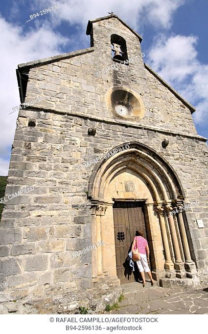 Santiago Church or the Pilgrims, small Gothic church, Roncesvalles, St. James Way ,  Navarra, Spain