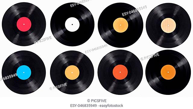 collection of variousvynil on white background. each one is shot separately