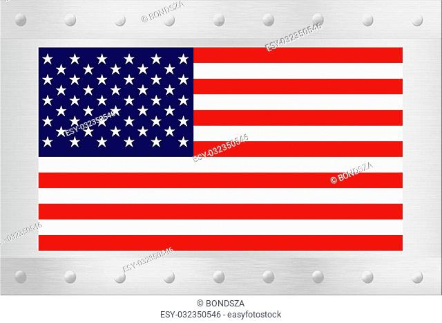An American flag on a brushed silver backing or plaque