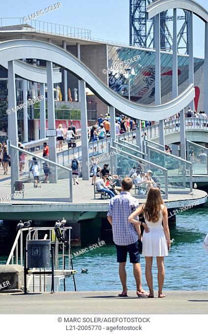 Maremagnum bridge. Rambla del Mar, Port Vell, Barcelona, Catalonia, Spain