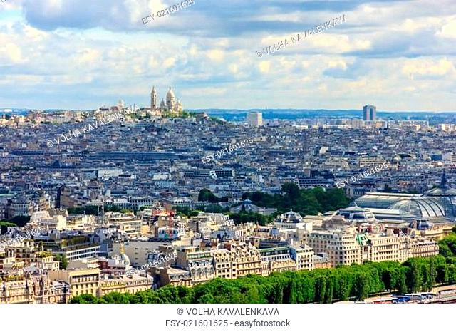View of Paris, the hill Montmartre and the Sacre Coeur Basilica