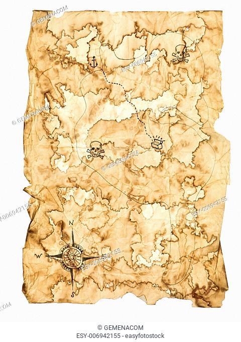Worn Treasure Map on White Background