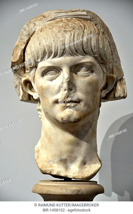Ancient marble bust of the young Roman emperor Nero, Museo Palatino, Palatino, Rome, Lazio, Italy, Europe
