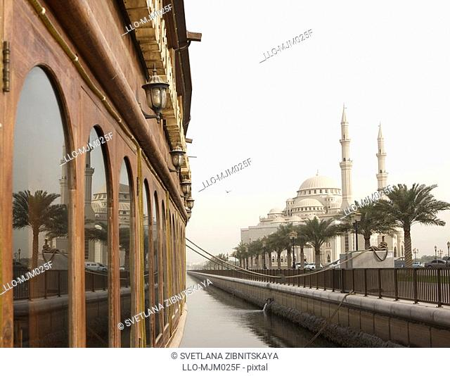 View of Al Noor Mosque, Sharjah, UAE
