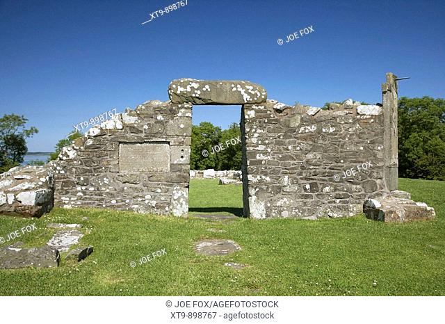 remains of the 6th century church on the monastic site at nendrum on mahee island county down northern ireland