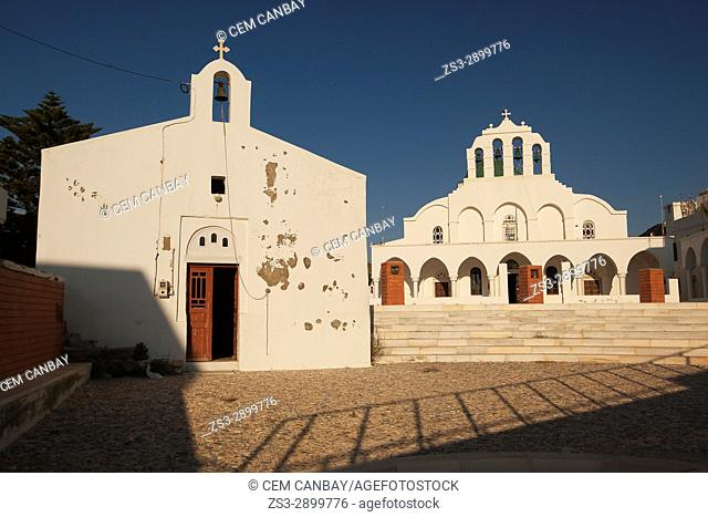 View to the church and chapel in the town center, Naxos, Cyclades Islands, Greek Islands, Greece, Europe