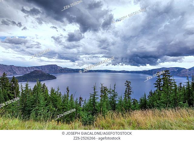 Storm clouds over Crater Lake. Crater Lake National Park, OR, USA
