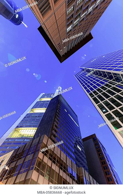 Europe, Germany, Hessia, Frankfurt, high rises in the financial district, Commerzbank, Japan Tower, Taunus tower at night