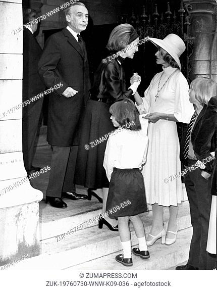 Jul 30, 1976; London, UK; Wife of the French Ambassador Madame BEAUMARCHAIS consoling Mrs. JANE EWART-BIGGS the wife of the late British Ambassador, Mr