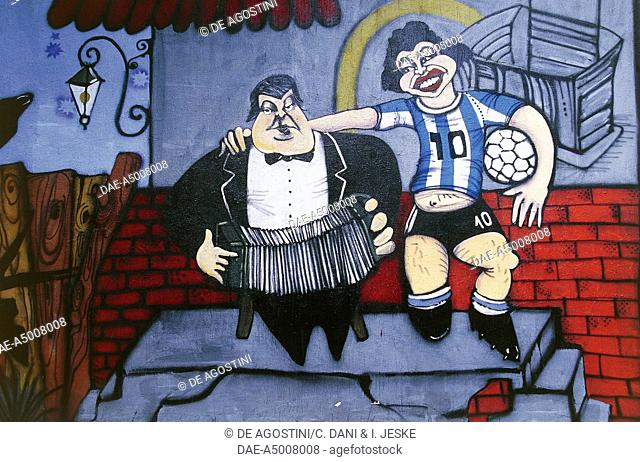 The musician Anibal Troilo and the football player Diego Maradona, mural on a wall of Caminito alley, La Boca, Buenos Aires, Argentina