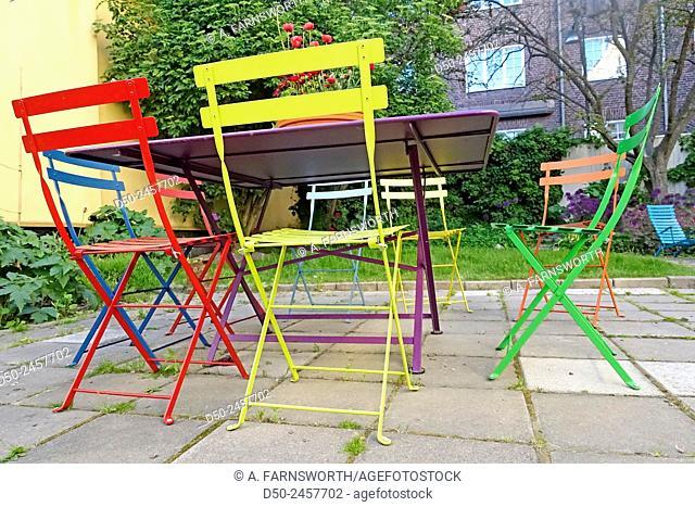STOCKHOLM, SWEDEN Colorful garden furniture