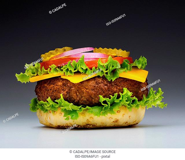 Burger with top missing