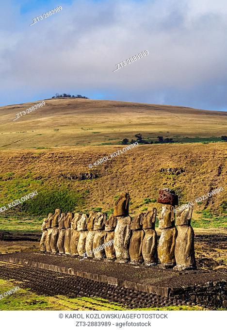 Moais in Ahu Tongariki, Rapa Nui National Park, Easter Island, Chile