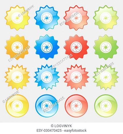 diaphragm icon. Aperture sign. Big set of 16 colorful modern buttons for your design. Vector illustration