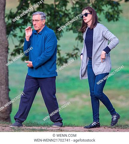 Robert De Niro and Anne Hathaway doing Tai Chi on the set of their upcoming movie 'The Intern' in Brooklyn Featuring: Anne Hathaway