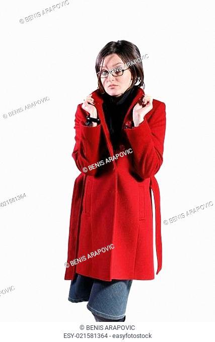 Portrait of a beautiful woman wearing winter coat