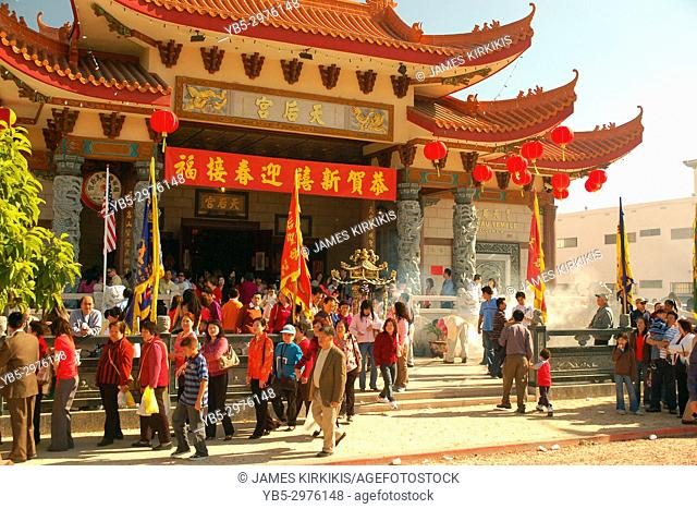 Congregants file out of the Thien Hau Temple in Los Angeles, California, ready to celebrate Chinese New Year