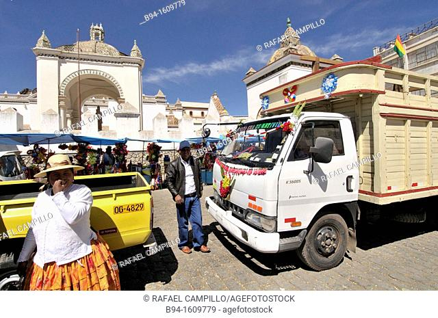 Basilica of Our Lady of Copacabana. Blessing of cars. Copacabana is the main Bolivian town on the shore of Lake Titicaca