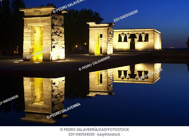 Debod Egyptian Temple, located in Madrid, Spain. This temple is 2200 years old, was donated to Spain by Egypt in 1968, in appreciation for Spanish aid to the...