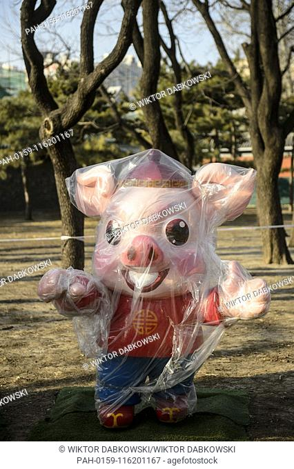 New year decorations in Di Tian park in Beijing, China on 28/01/2019 One of main the Spring Festival's celebrations will be held in the park