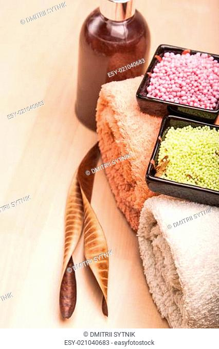 colored sea salt and towels for spa