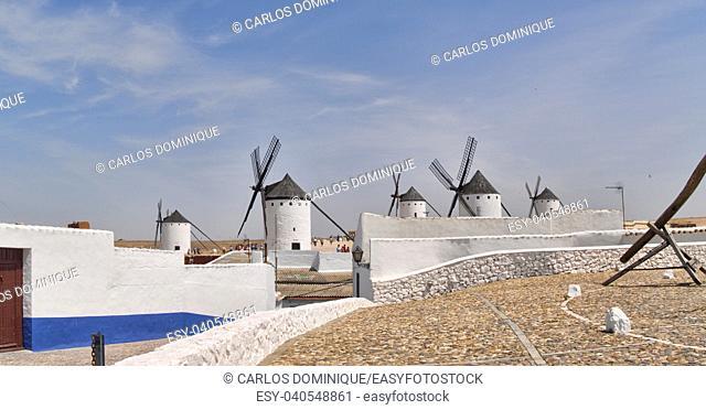 Streets of Campo de Criptana with windmills