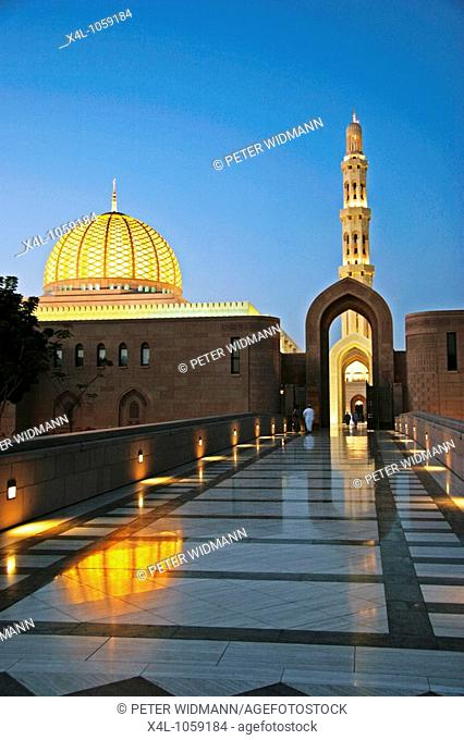 Oman, Sultan Qaboos Grand Mosque at night