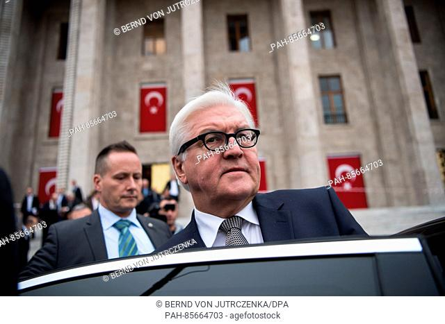 The German foreign minister Frank-Walter Steinmeier leaves the Turkish parliamentary building after talks with Ismael Kahraman