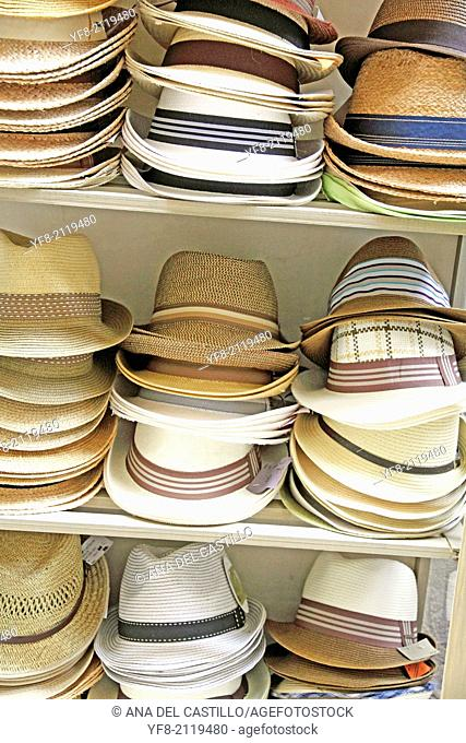 France, Provence, Hats for sale in street market