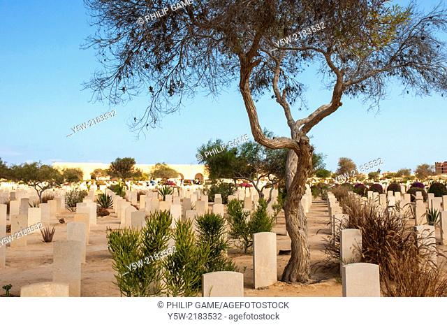 Allied War Cemetery at El-Alamein, Egypt, holding graves of the Allied casualties of the Western Desert campaign of World War Two